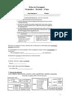 Ficha de Português _Gramática_Revisões_Pronomes_6ºano