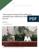 Cuba anuncia el inicio de la unificación monetaria que conllevará la desaparición de los CUC - BBC News Mundo