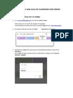 COMO UNIRSE A UNA AULA DE CLASSROOM CON CÓDIGO.pdf