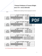Calendrier TP et TD SV5 20-21