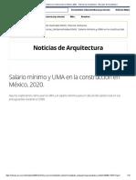 Salario mínimo y UMA en la construcción en México, 2020