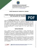 Nota Técnica nº 20 de 2020, assinada pelo Grupo de Trabalho Nacional GT Covid-19 do MPT