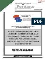 Resolución del Consejo Directivo 035_2018 SUNEDU_CD que otorga el Licencia Institucional a la UPAO