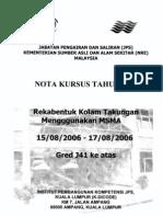 NOTA KURSUS TAHUN 2006 - Rekabentuk Kolam Takungan Menggunakan WSMA - 15-08-2006 To 17-08-2006