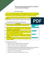Orientaciones Para El Curso de Iniciación en El Area de Las Ciencias Naturales
