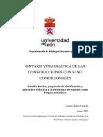 Sintaxis Pragmática de las construcciones con Si No Condicionales