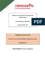 Note de Lecture - Rapport sur le développement humain 2019