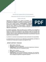 ORGANIZACIÓN DE DOCENCIA POR ESPECIALIDAD