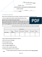 Ficha RCA_8º _gramática_ Classes e sintaxe