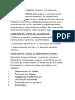 ACTIVIDAD DE CALENTAMINETO GLOBAL Y LLUVIA ACIDA