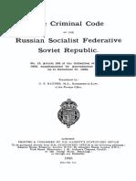 The Criminal Code of the Russian Socialist Federative Soviet Republic, June 1, 1922