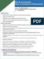 Offre Recrutement Actuaire Statisticien Assureur 102020