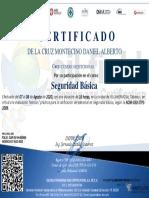 Certificado a DE LA CRUZ MONTECINO DANIEL ALBERTO