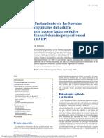 esp Tratamiento de las hernias inguinales del adulto por acceso laparoscópico transabdominopreperitoneal (TAPP)