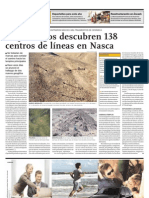 Arqueólogos descubren 138 centros de lineas en Nasca