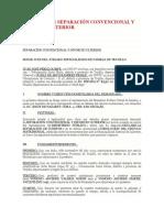 DEMANDA DE SEPARACIÓN CONVENCIONAL Y DIVORCIO ULTERIOR