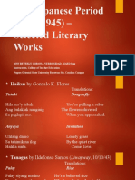 The Japanese Period (1941-1945) – Selected Literary Works
