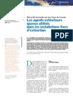 Les agents extincteurs gazeux utilises dans les installations fixes d extinction
