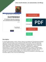 Electronique _ Tome 2, Systèmes bouclés linéaires, de communication et de filtrage Télécharger, Lire PDF