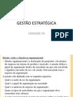 UNIDADE VII. GESTÃO ESTRATÉGICA