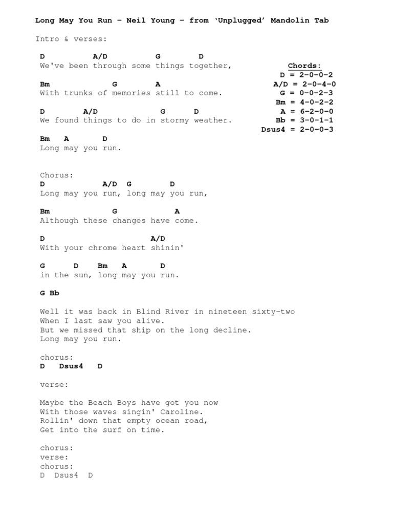 Mandolin Tab Long May You Run Open Chords1