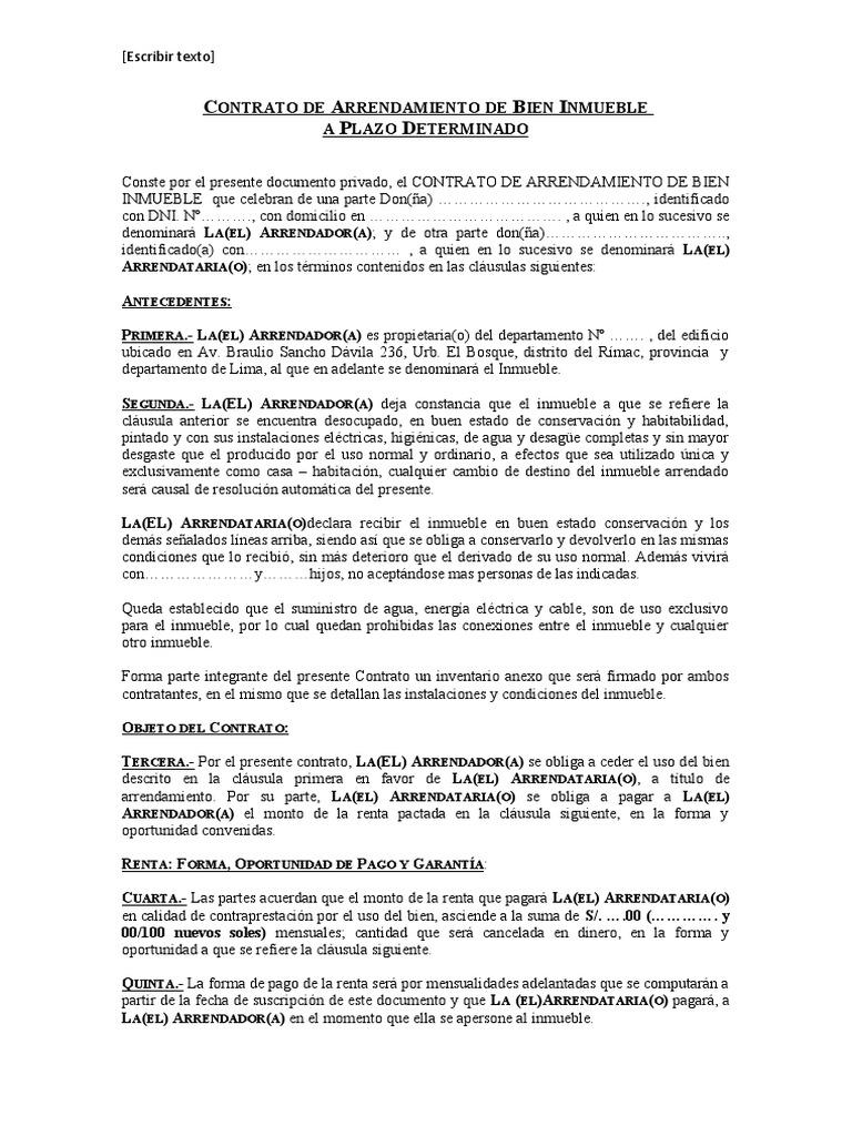 Modelo de contrato de arrendamiento de bien inmueble for Arrendamiento bienes muebles