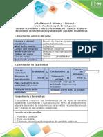 Guía de actividades y rúbrica de evaluación - Fase 2. Elaborar documento de identificación y análisis de variables estadisticas.docx