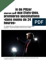 Le vaccin de Pfizer autorisé aux Etats-Unis, premières vaccinations «dans moins de 24 heures» - Libé