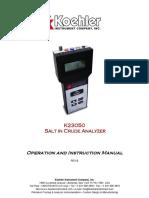 K23050 Salt in Crude Analyser User Manual
