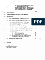 February 14, 2011 Budget Meeting Agenda