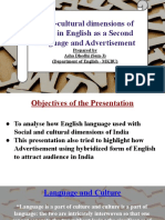 Hybridization of Language in Advertisement and Socio-cultural Dimensions of India