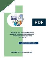 Manual De Procedimientos Unidad de Clasificación de Puestos y Administración de Sueldos