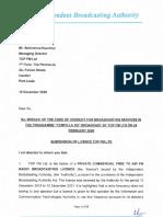 La lettre de suspension publiée par l'IBA