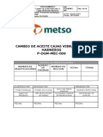 P-DGM-MEC-009. Proc. Cambio de Aceite Cajas Vibratorias