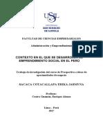 Contexto en el que se desarrolla el emprendimiento social en el Perú
