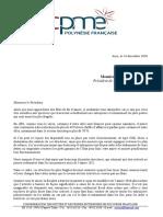 Courrier de la CPME au président Édouard Fritch