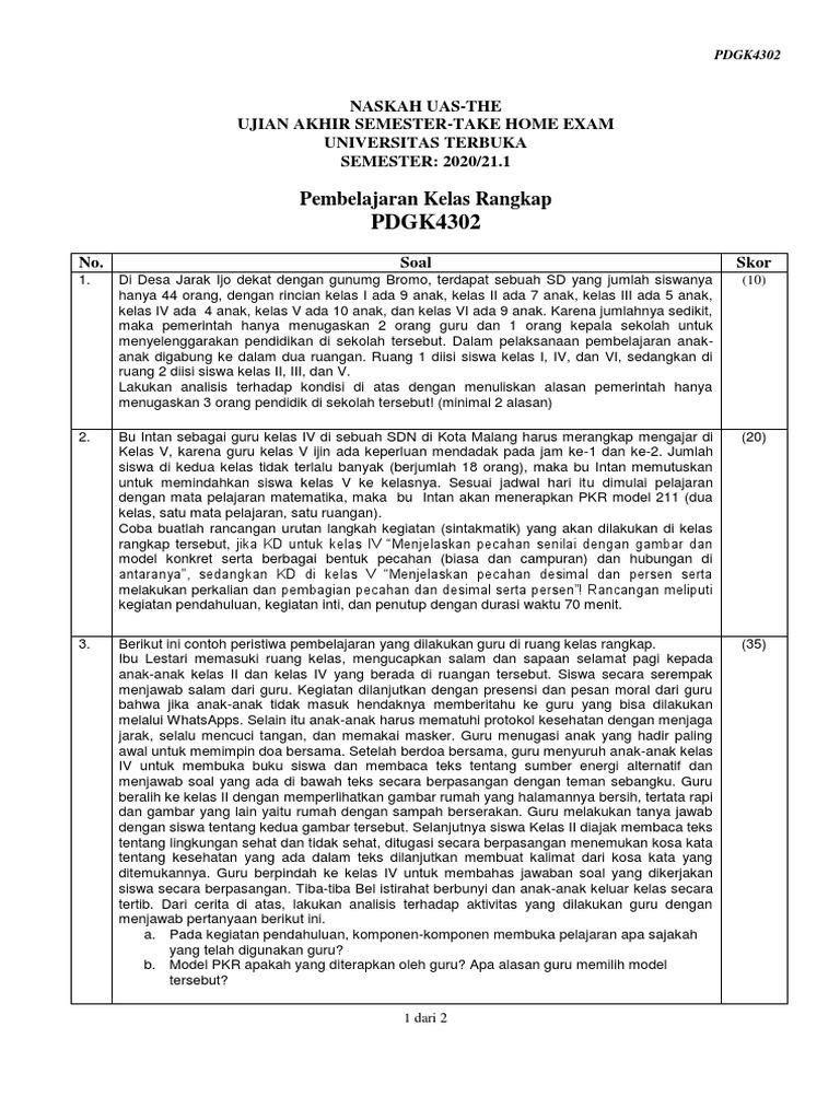 Naskah Soal Uas Ut Pdgk4302 Pembelajaran Kelas Rangkap