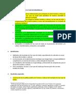 LINEAS Y ACCIONES PARA EL PLAN DE DESARROLLO- TURISMO