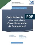 Optimisation Fiscale des opérations d'investissement et de financement