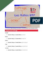 Voici quelques Ratios utile pour les métreur et tout intervenant dans le domaine du BTP