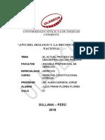 TRABAJO N° 08 EL ACTUAL PROCESO DE LA DESCENTRALIZACION PERUANA