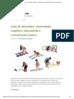 Lista de atividades_ motricidade, cognitivo, lateralidade e coordenação motora _ Universo Especial