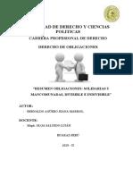 2- Resumen divisible e indivisible, Obligaciones Solidarias y Mancomunadas