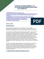 PRINCIPIOS PARA EL ESTABLECIMIENTO Y LA APLICACIÓN DE CRITERIOS MICROBIOLÓGICOS PARA LOS ALIMENTOS