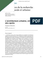 L'Architecture Urbaine, Cinquante Ans Après
