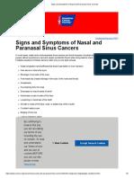 Signs and Symptoms of Nasal and Paranasal Sinus Cancers