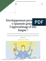 Développement personnel _ s'épanouir grâce à l'apprentissage d'une langue !