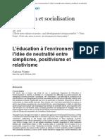 L'éducation à l'environnement_ l'idée de neutralité entre simplisme, positivisme et relativisme