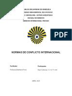 La norma de conflicto internacional