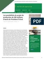 Les possibilités du projet de production de 300 millions d'œufs du Président Préval – Michel William